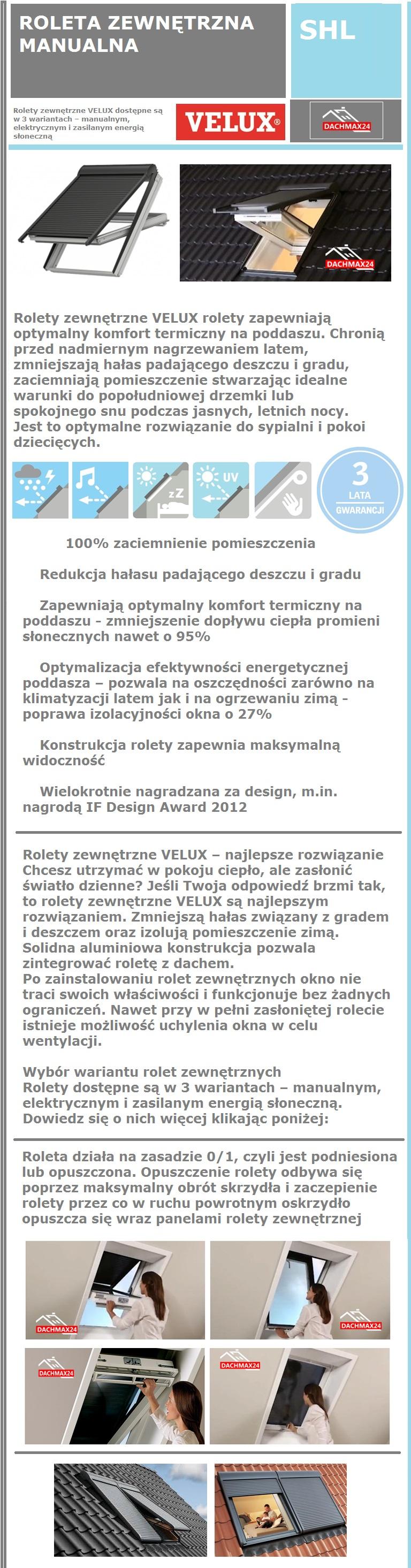 Roleta zewnętrzna obrotowa Velux SHL