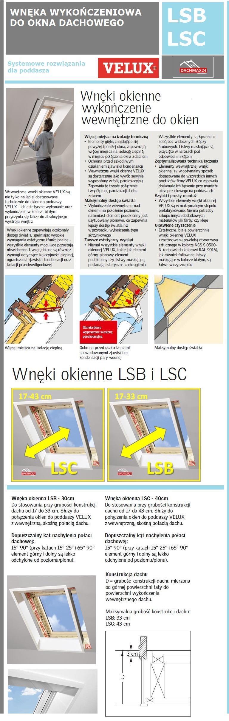 Wnęka wykończeniowa do okna dachowego Velux LSC LSB