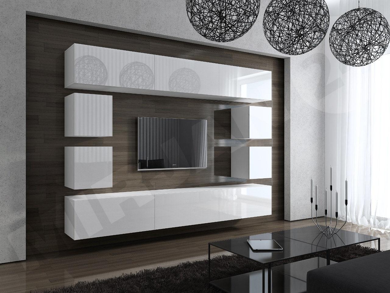 Wohnwand concept 17 design hochglanz weiß   dachmax