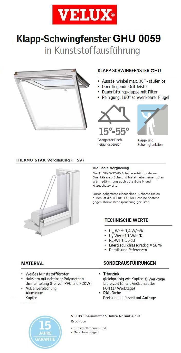 klapp schwing fenster aus kunststoff velux ghu 0059 mit eindeckrahmen ebay. Black Bedroom Furniture Sets. Home Design Ideas
