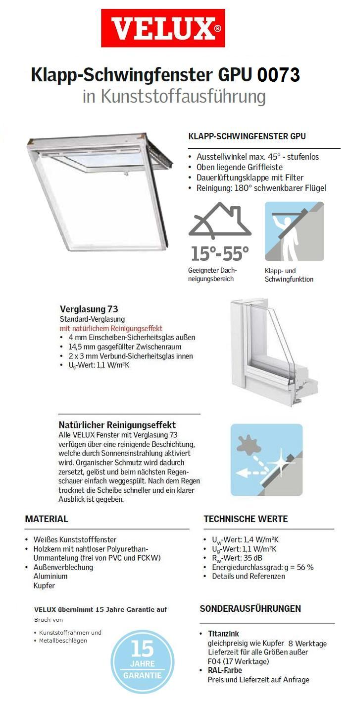 klapp schwing fenster aus kunststoff velux gpu m08 0073 0059 78x140 cm ebay. Black Bedroom Furniture Sets. Home Design Ideas