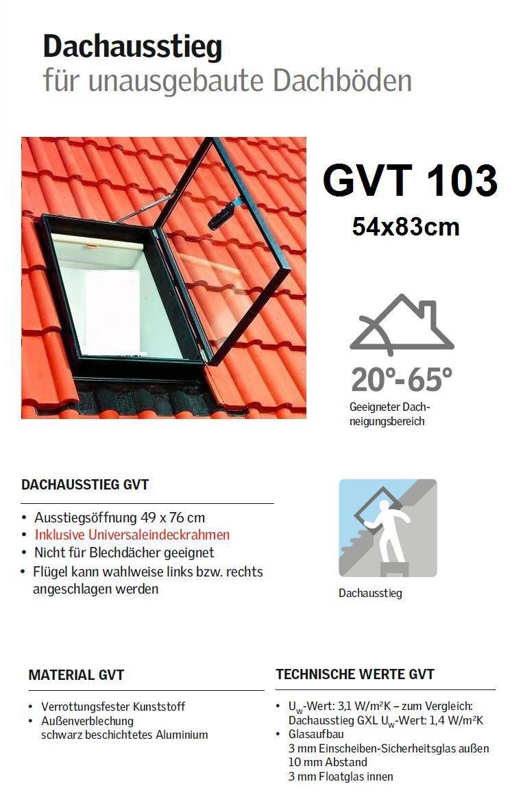 velux dachausstiegsfenster 54 x 83 cm gvt 103 0000z f r kaltr ume schwarz. Black Bedroom Furniture Sets. Home Design Ideas