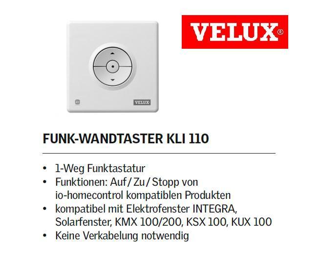 velux kli 110 funktaster f r alle produkte des elektro systems ebay. Black Bedroom Furniture Sets. Home Design Ideas