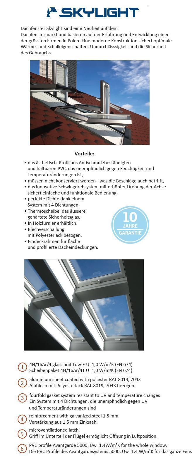 skylight kunststoff dachfenster 94x118 eindeckrahmen hoch schwingfenster ebay. Black Bedroom Furniture Sets. Home Design Ideas