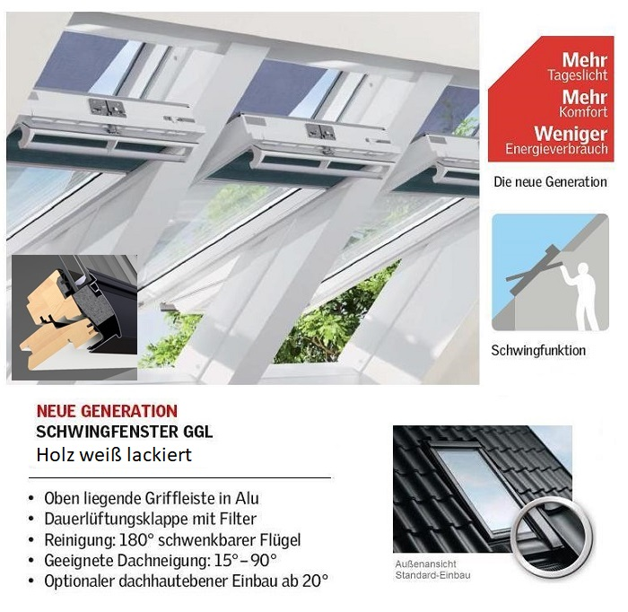 Dachfenster Velux holz THERMO PLUS weiss lackiert ggl 2066