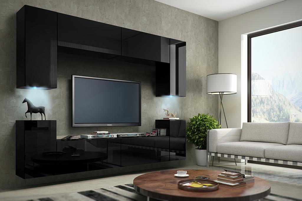 wohnwand concept 1 design hochglanz schwarz - dachmax,