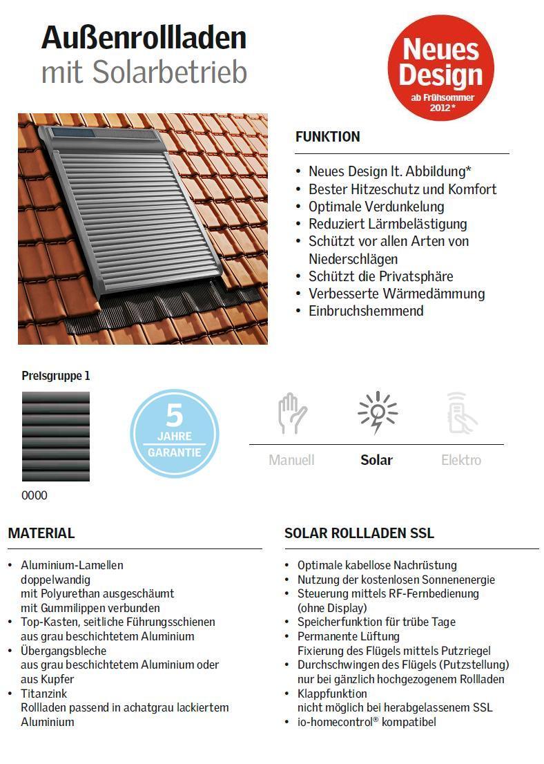 velux solar rollladen ssl 0000s original solarbetrieben volet roulant solaire ebay. Black Bedroom Furniture Sets. Home Design Ideas