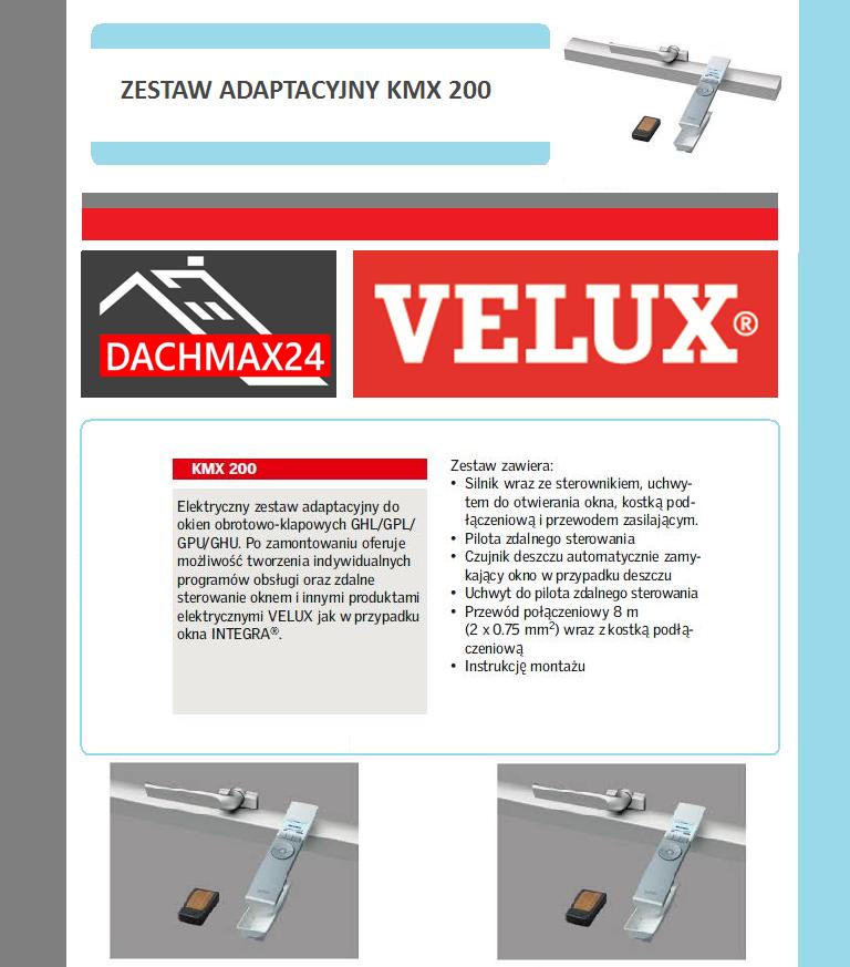 Elektryczny zestaw adaptacyjny do okien obrotowo-klapowych  Velux - KMX 200