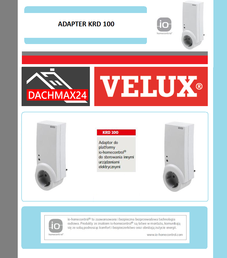 Adaptor do proformy io-homecontrol Velux - KRD 100