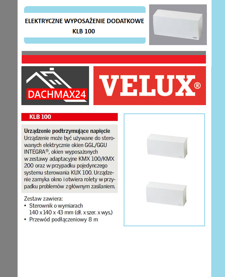 Urządzenie podtrzmujące napięcie Velux - KLB 100