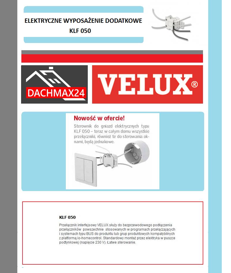 Sterownik podtynkowy 230V  podłączany do klawiatury Velux - KLF 050