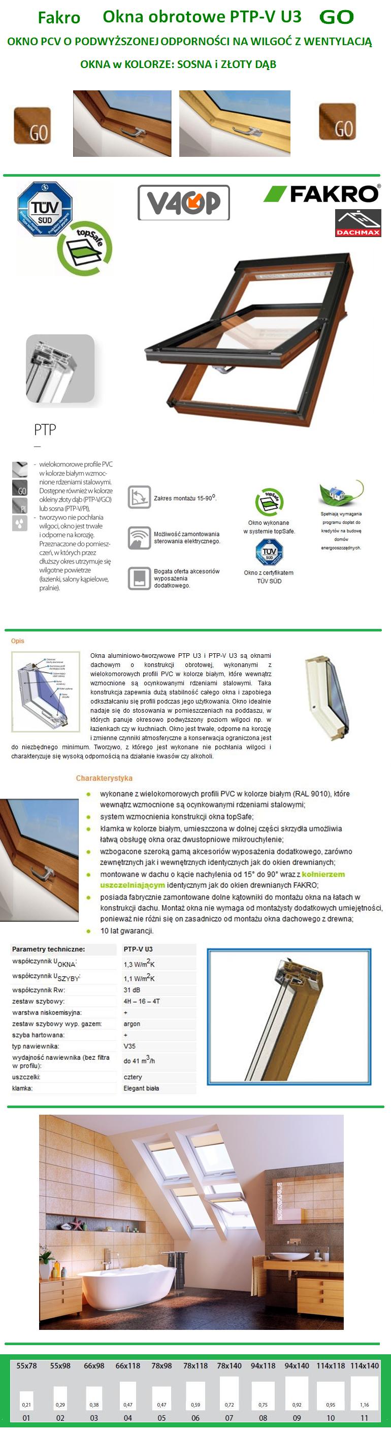 Okno Fakro PTP-V/GO U3 PCV Sosna Złoty Dąb O Podwyższonej Odporności Na Wilgoć