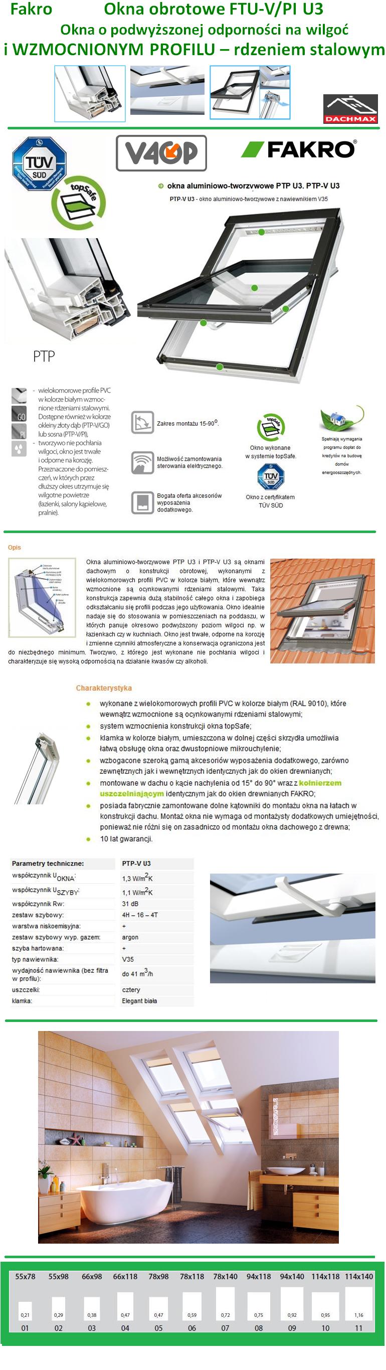 Okno Dachowe Fakro PTP-V/PI U3 PCV Białe O Wzmocnionej Konstrukcji Obrotowe