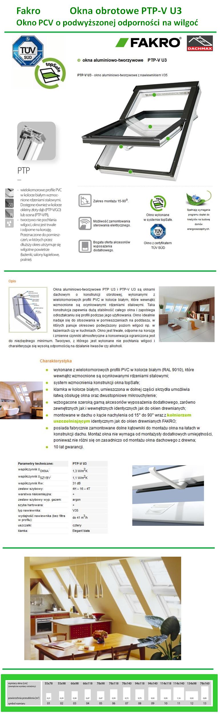 Okno Dachowe Fakro PTP-V U3 PCV Białe Obrotowe O Podwyższonej Odporności na Wilgoć