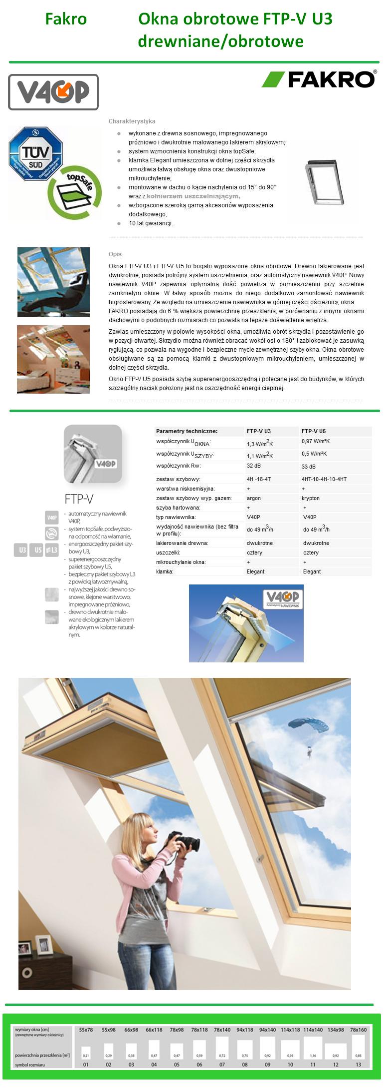 Okno Dachowe Fakro FTP-V U3 drewniane obrotowe