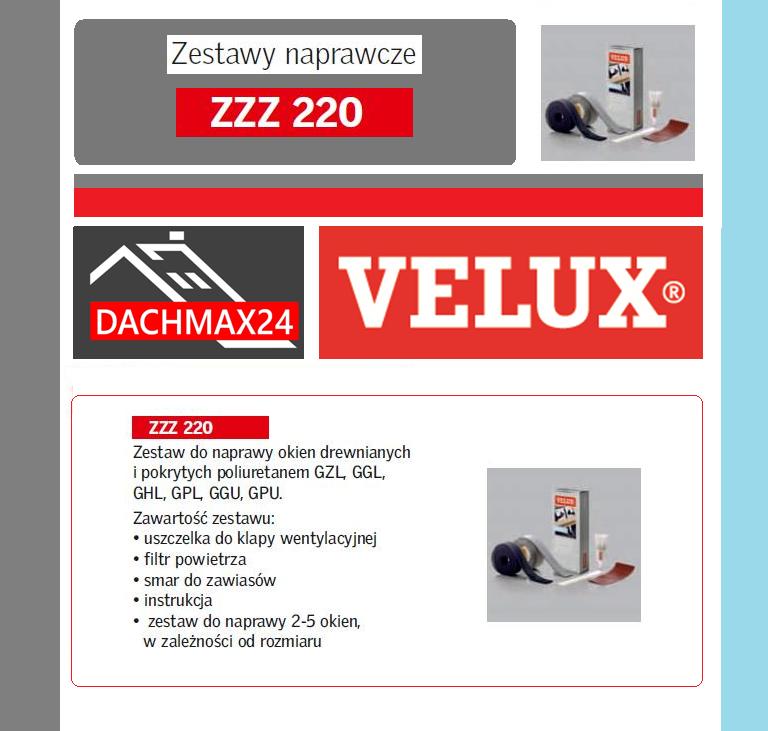estaw naprawczy do okien dachowych Velux - ZZZ 220