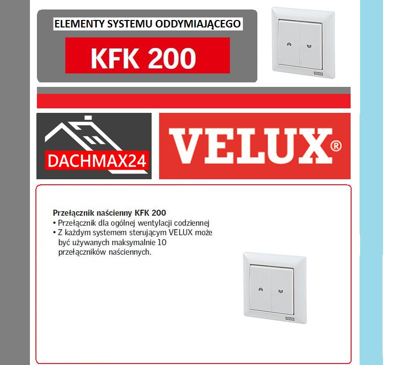 Elementy systemu oddymiającego Velux - KFK 200 przełącznik naścienny