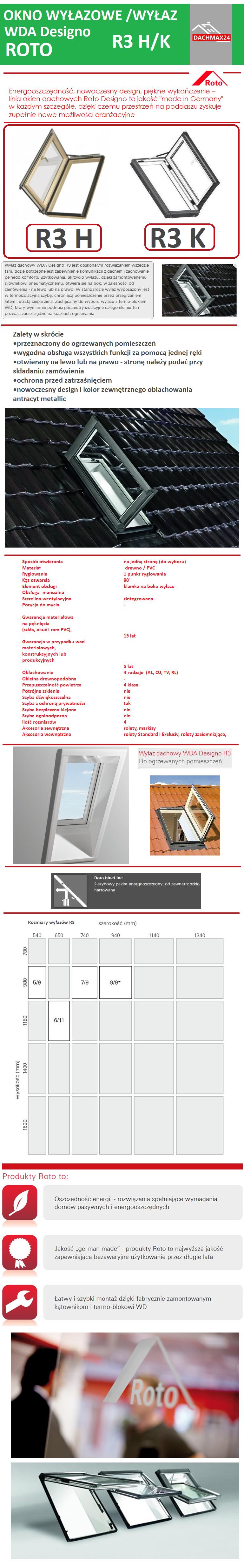 Okno wyłazowe Roto WDA Designo R35 WD K Z PVC BEZ TERMO-BLOKU