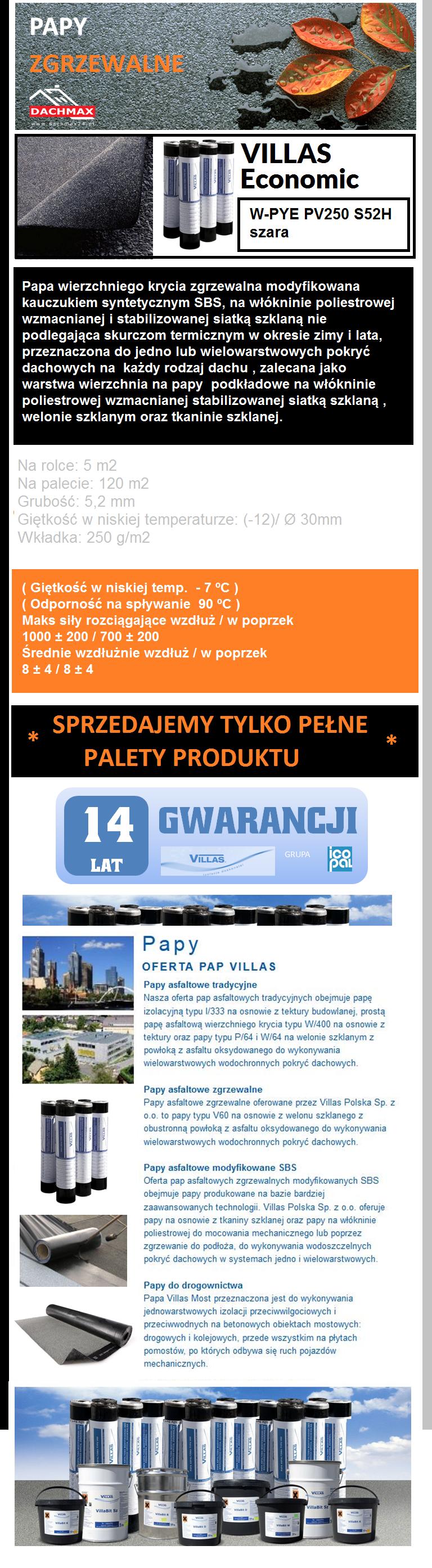 VILLAS Economic W-PYE PV250 S52H Papa wierzchniego krycia modyfikowana kauczukiem syntetycznym SBS