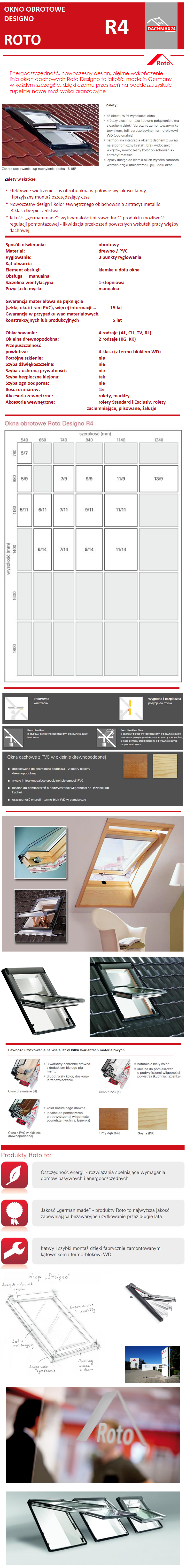 Okno Dachowe Roto Designo R45 H z drewna