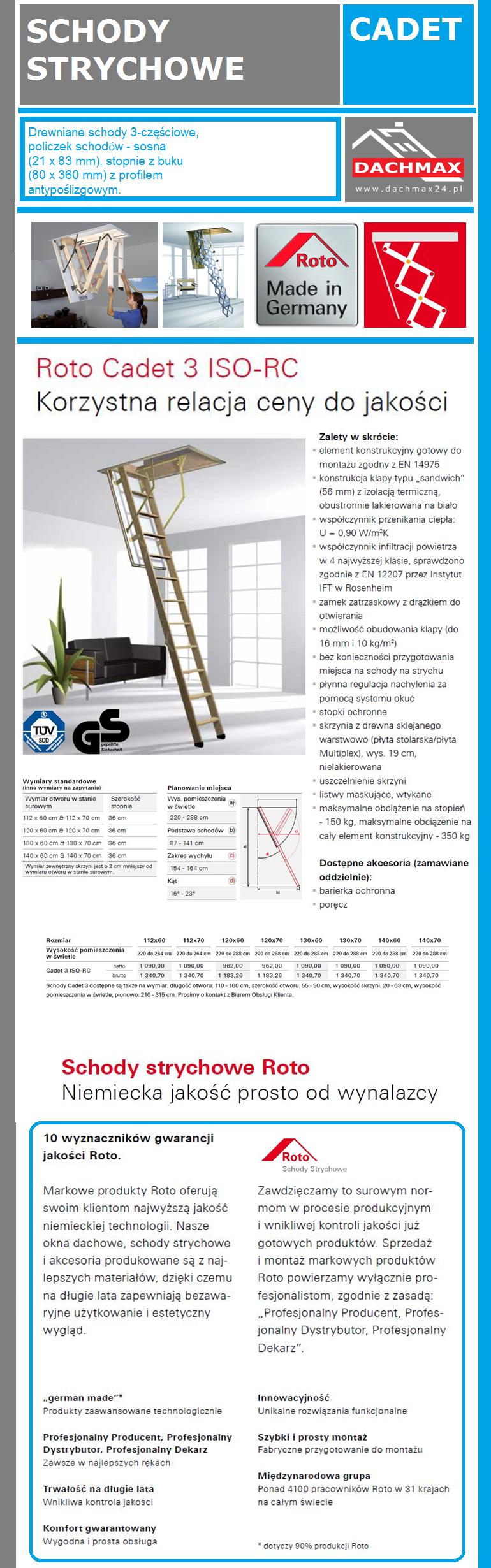 Cadet 3 ISO-RC ROTO Korzystna relacja ceny do jakości  SCHODY STRYCHOWE DREWNIANE