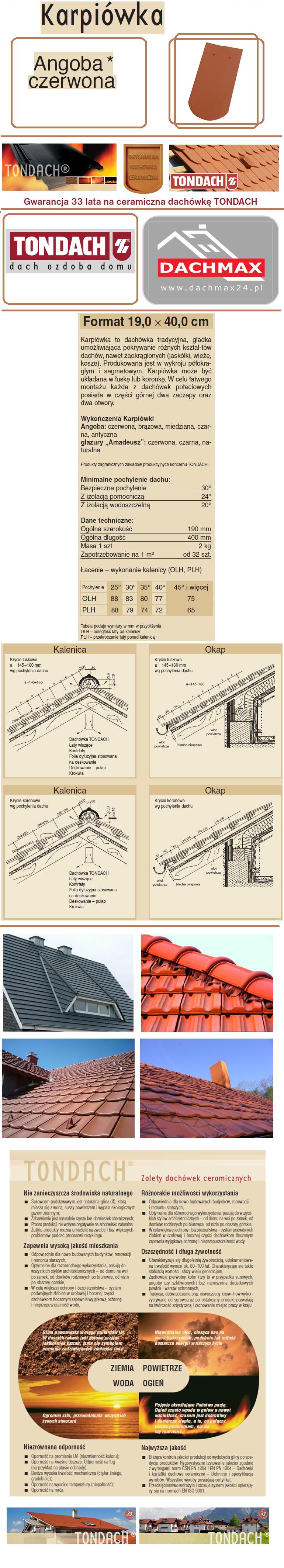 Dachówka TONDACH KARPIÓWKA ANGOBA CZERWONA 19,0X40,0