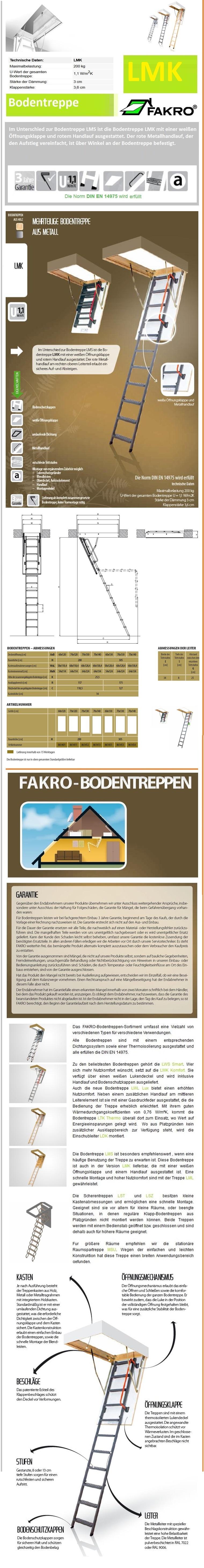 Bodenklapptreppe LMK Fakro aus Metall