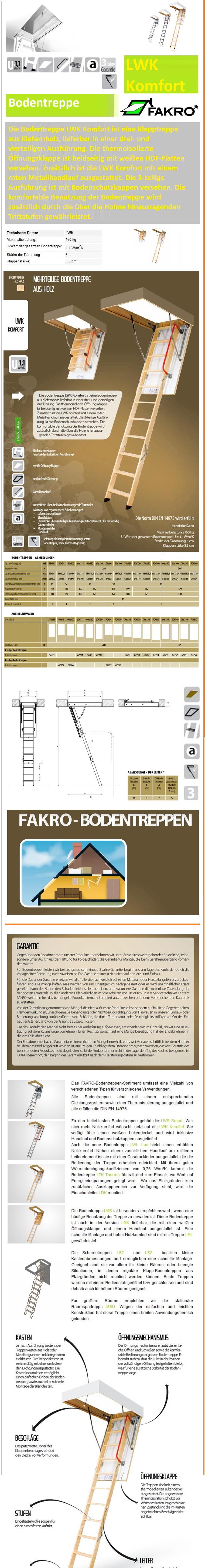 Bodentreppe LWK Komfort Fakro Bodenklapptreppen aus Holz