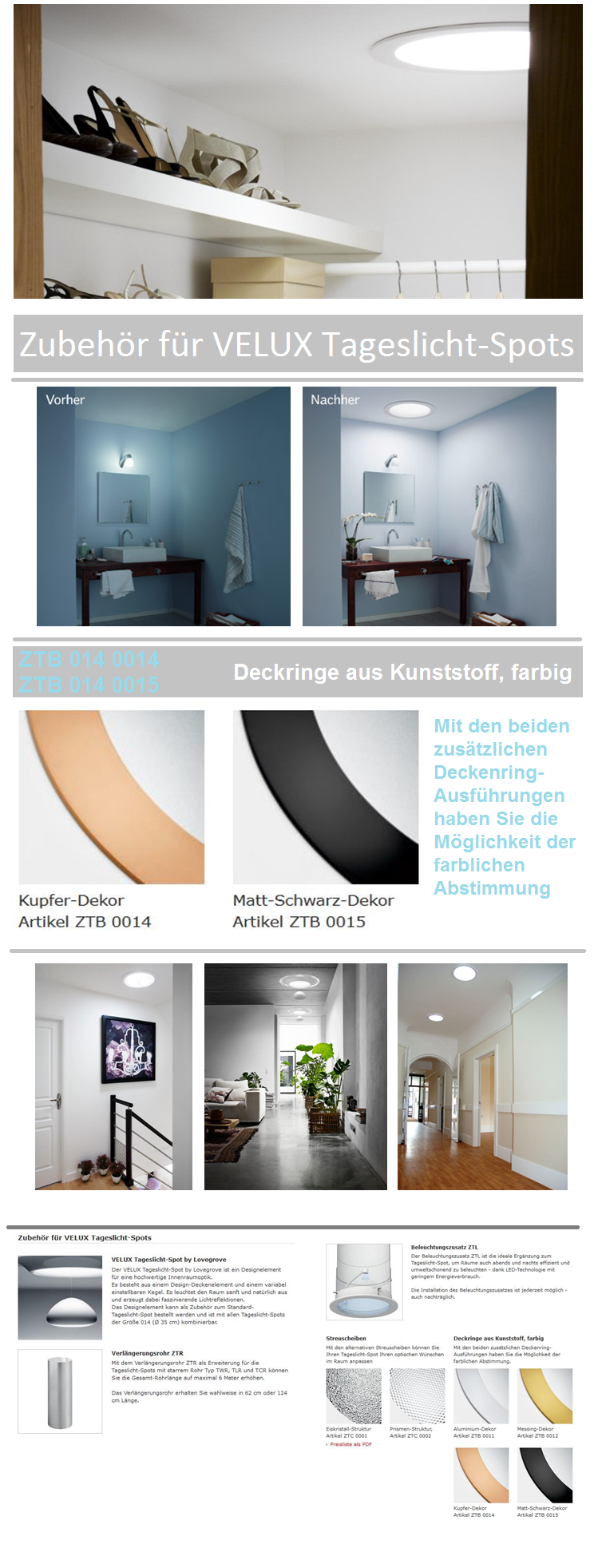 matt schwarz dekor artikel ztb 0015 velux tageslicht spot. Black Bedroom Furniture Sets. Home Design Ideas