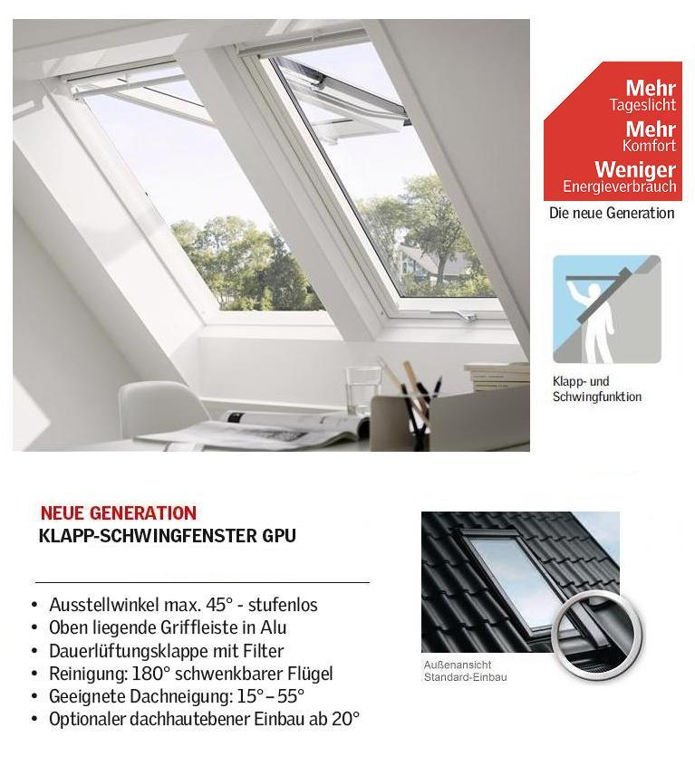 Dachfenster Velux klapp-schwing-fenster kunststoff gpu 0070 0060 0066 0050 thermo