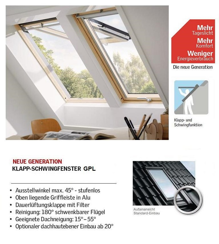 dachfenster klapp schwing fenster velux gpl 3 fach verglasung energie 3066 3068 ebay. Black Bedroom Furniture Sets. Home Design Ideas
