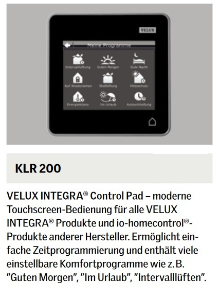 velux integra klf 050 steuersystem kux 110 klr 200 kli 110 klf 200 f r rollladen ebay. Black Bedroom Furniture Sets. Home Design Ideas