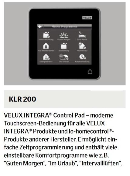 velux integra klf 050 steuersystem kux 110 klr 200 kli 110 klf 200 f r rollladen ebay. Black Bedroom Furniture Sets. Home Design Ideas