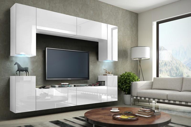 Wohnwand weiß hochglanz hängend  Wohnwand Hängend Tv Wand Fernseherschrank Schwarz Hochglanz Hängwand ...